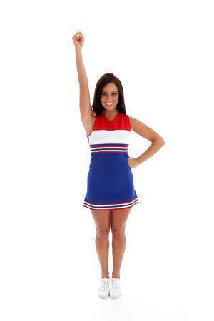 porrista: Animadora con uniforme sobre un fondo blanco