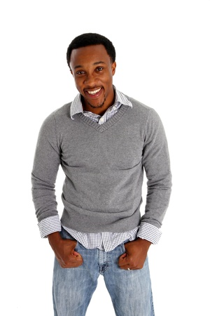 black youth: Casual man pictured on a white background