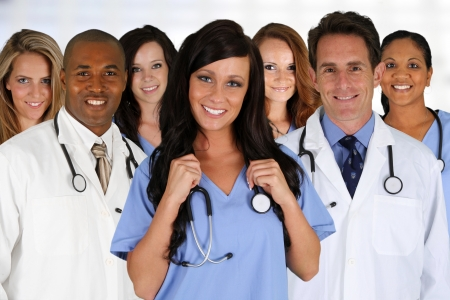 american staff: Group of doctors and nurses set in a hospital Stock Photo