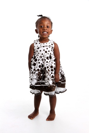 African children: Portrait of a girl who is against a white background