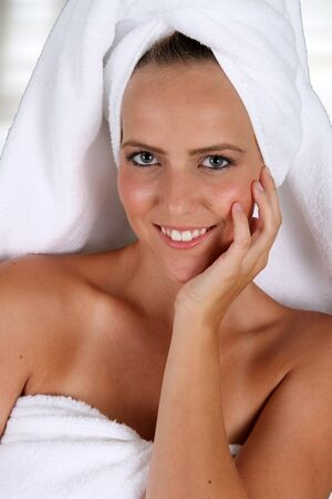 Woman wrapped in a towel while at spa Stock Photo - 17482717