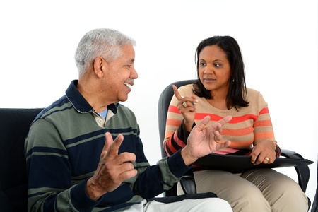 psychiatrist: Person in need having a counseling session