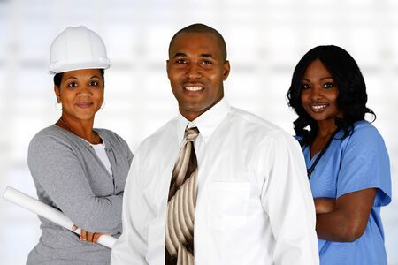 minority: Minority team of different occupations all together