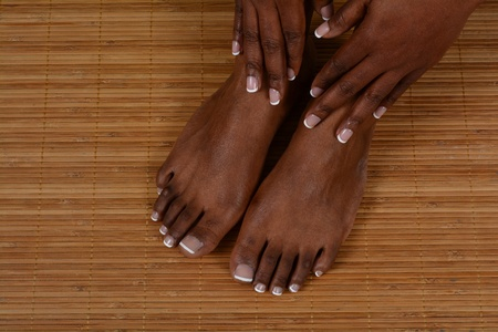hot rock therapy: Woman foot at a spa
