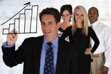 confident consultant: Business Team of Mixed Races at Office