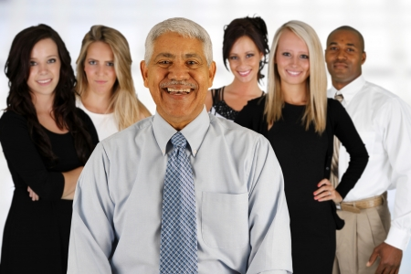 team leader: Business Team of Mixed Races at Office