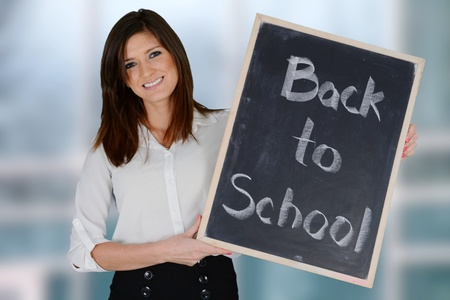 employment elementary school: Teacher getting ready for the school year Stock Photo