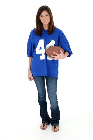 Adult womanl set against a white background with football photo