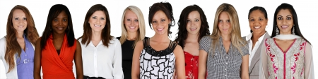 Women of all different races together on a white background photo