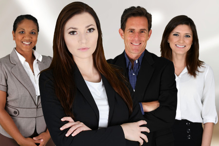 powerful man: Business Team of Mixed Races at Office