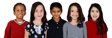 Group of children who standing together against a white background