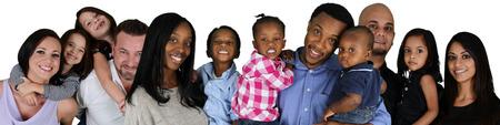 familias jovenes: Grupo de diversas familias juntos de todas las razas Foto de archivo
