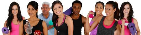 ejercicio aer�bico: Grupo de personas haciendo una sesi�n de ejercicios, mientras que en el gimnasio