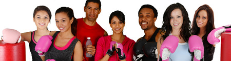 woman boxing gloves: Group of people in a boxing class