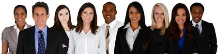ビジネス チームの人種混合白い背景の上