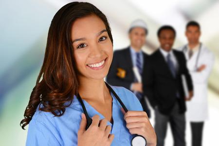 Female nurse working her job in a hospital photo