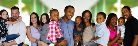 diversity children: Group of different families together of all races