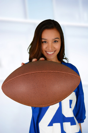 Football fan getting ready to watch the game Stock Photo