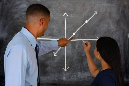 Teacher at school in the classroom ready for work Stock Photo - 30185594