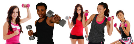 Group of diverse people working out at the gym Stock Photo - 30185601