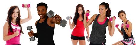 levantar pesas: Grupo de gente diversa que trabaja en el gimnasio