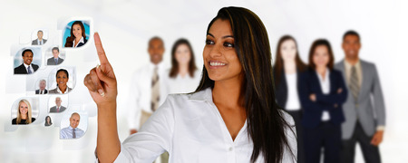 Geschäftsfrau Auswahl der Mitglieder ihr Geschäft Team Standard-Bild