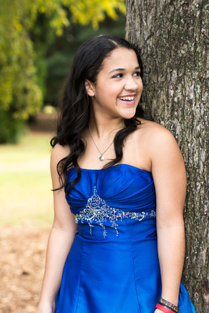 prom dress: Teen girl wearing her formal Quinceanera dress