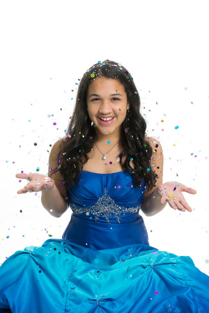 Tiener in prom jurk met glitter Stockfoto