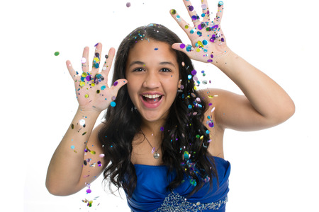 prom: Teenage girl in prom dress with glitter Stock Photo