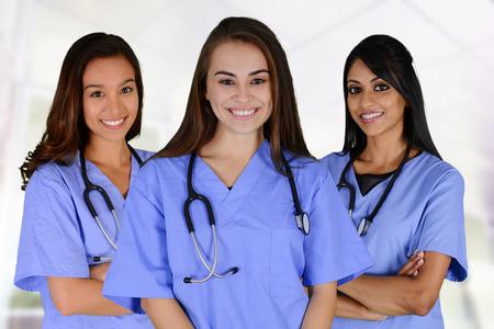 病院で看護師のグループを設定 写真素材