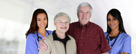 home health care: Home health care worker and an elderly couple