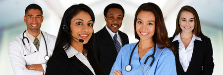 medical doctors: Business and Medical Team of Mixed Races at Office