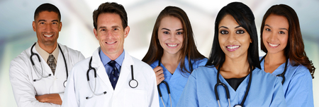 medical doctors: Group of doctors and nurses set in a hospital Stock Photo