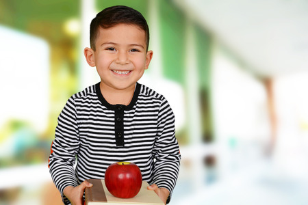 pre adolescent boy: Young boy at school who is smiling