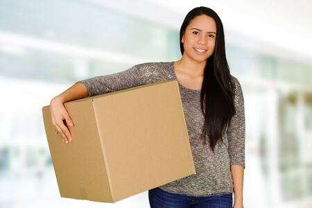 college dorm: Woman who is moving into her new home