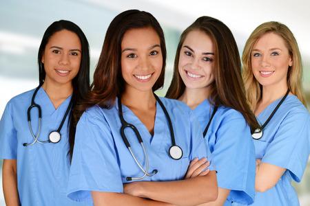 enfermeros: Grupo de enfermeras ambientada en un hospital Foto de archivo