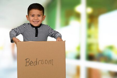 moving box: Happy little schoolboy carrying a moving box