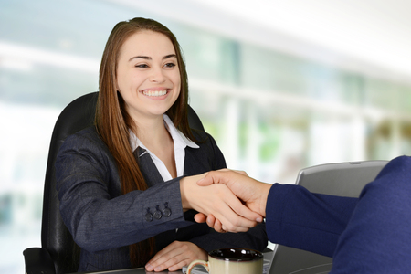 happening: Business meeting with two women happening in an office Stock Photo