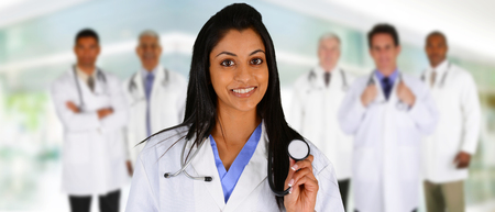 female doctor: Group of doctors who are set in a hospital Stock Photo