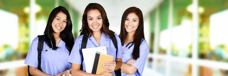 nursing young: Females who are going to nursing school Stock Photo