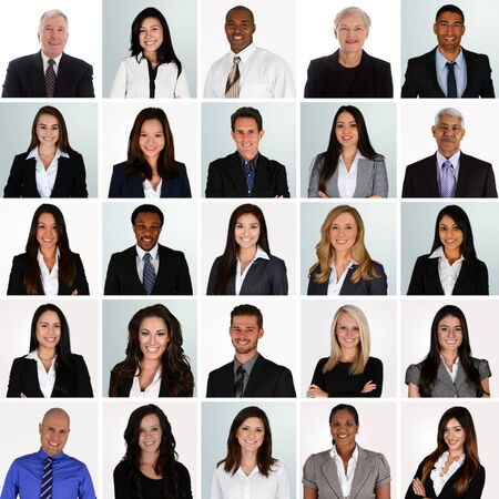 mature business man: Business Team of Mixed Races Working For A Company