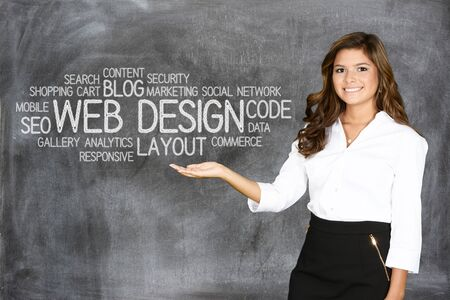 web marketing: Young woman who works as a web designer Stock Photo