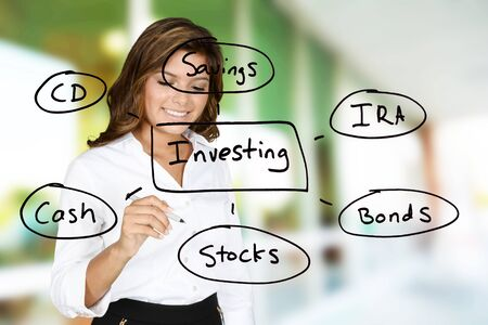 retirement: Woman planning out her future with investments