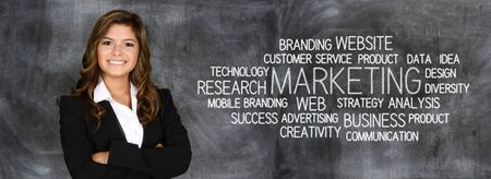 Woman who is doing marketing work for a business Stock Photo