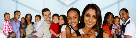 Group of different families together of all races photo