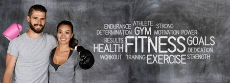 women sport: Athlete involved in fitness against a chalkboard