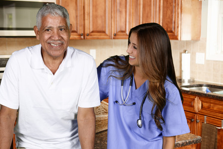 home health care: Home health care worker and an elderly man