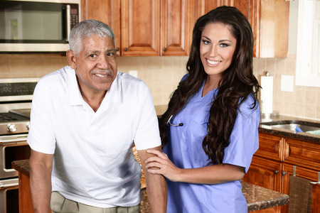 home healthcare: Home health care worker and an elderly man