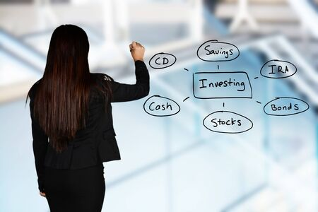 ira: Woman planning out her business investing strategy Stock Photo