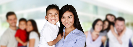 hispanic kids: Happy young families together in a group